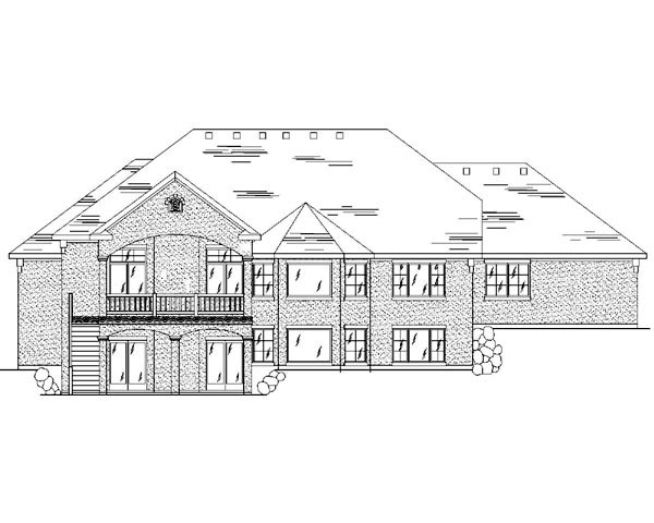 European House Plan 79797 with 5 Beds, 4 Baths, 3 Car Garage Rear Elevation