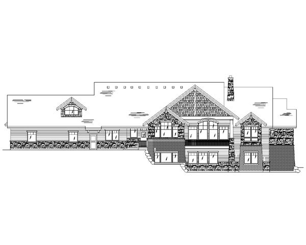 Craftsman House Plan 79935 with 4 Beds, 4 Baths, 3 Car Garage Rear Elevation