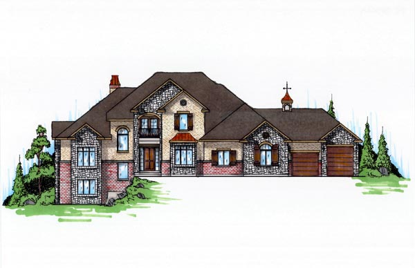 European House Plan 79939 with 6 Beds, 4 Baths, 3 Car Garage Front Elevation