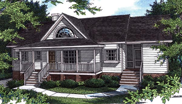 Cottage House Plan 80152 with 3 Beds, 3 Baths, 2 Car Garage Elevation