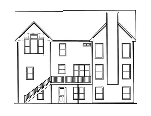 Cottage House Plan 80215 with 5 Beds, 3 Baths, 2 Car Garage Rear Elevation