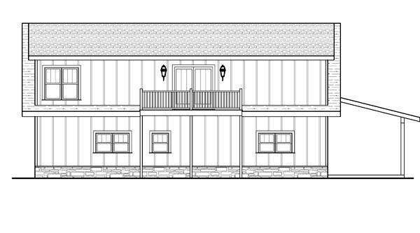 Cottage 4 Car Garage Apartment Plan 80252 with 1 Beds, 1 Baths Rear Elevation