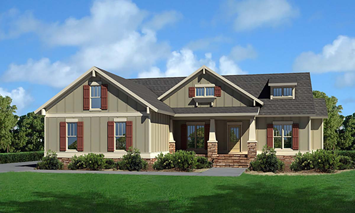 Cottage, Craftsman, Narrow Lot, One-Story, Traditional House Plan 80257 with 3 Beds, 2 Baths, 2 Car Garage Front Elevation