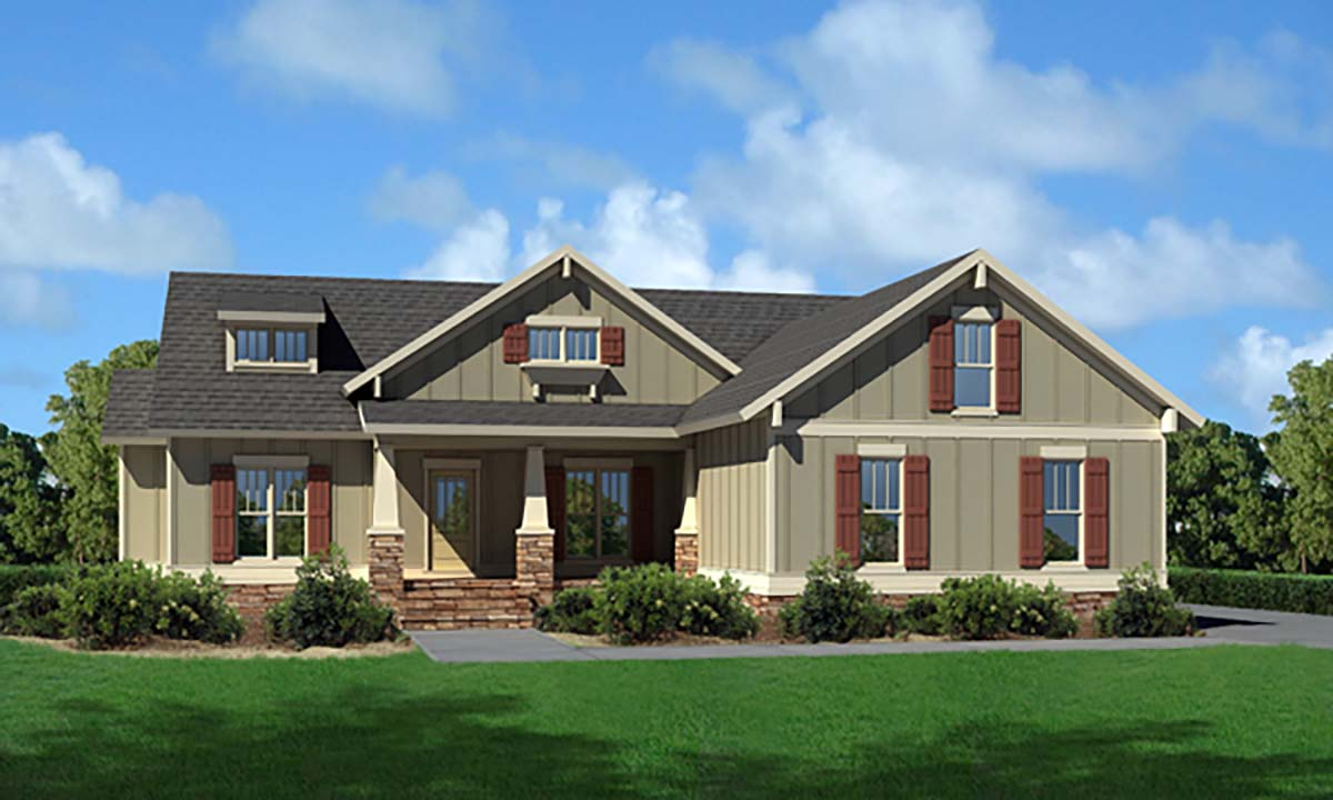 Cottage, Craftsman, Narrow Lot, One-Story, Traditional House Plan 80257 with 3 Beds, 2 Baths, 2 Car Garage Picture 1