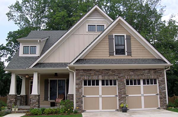 Bungalow, Cottage, Craftsman, Narrow Lot House Plan 80260 with 4 Beds, 4 Baths, 2 Car Garage Front Elevation