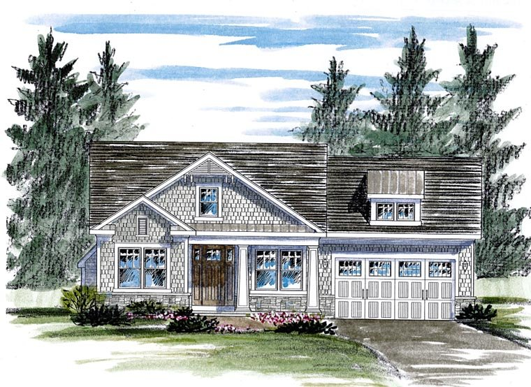 Cottage, Country, Craftsman House Plan 80307 with 2 Beds, 2 Baths, 2 Car Garage Front Elevation