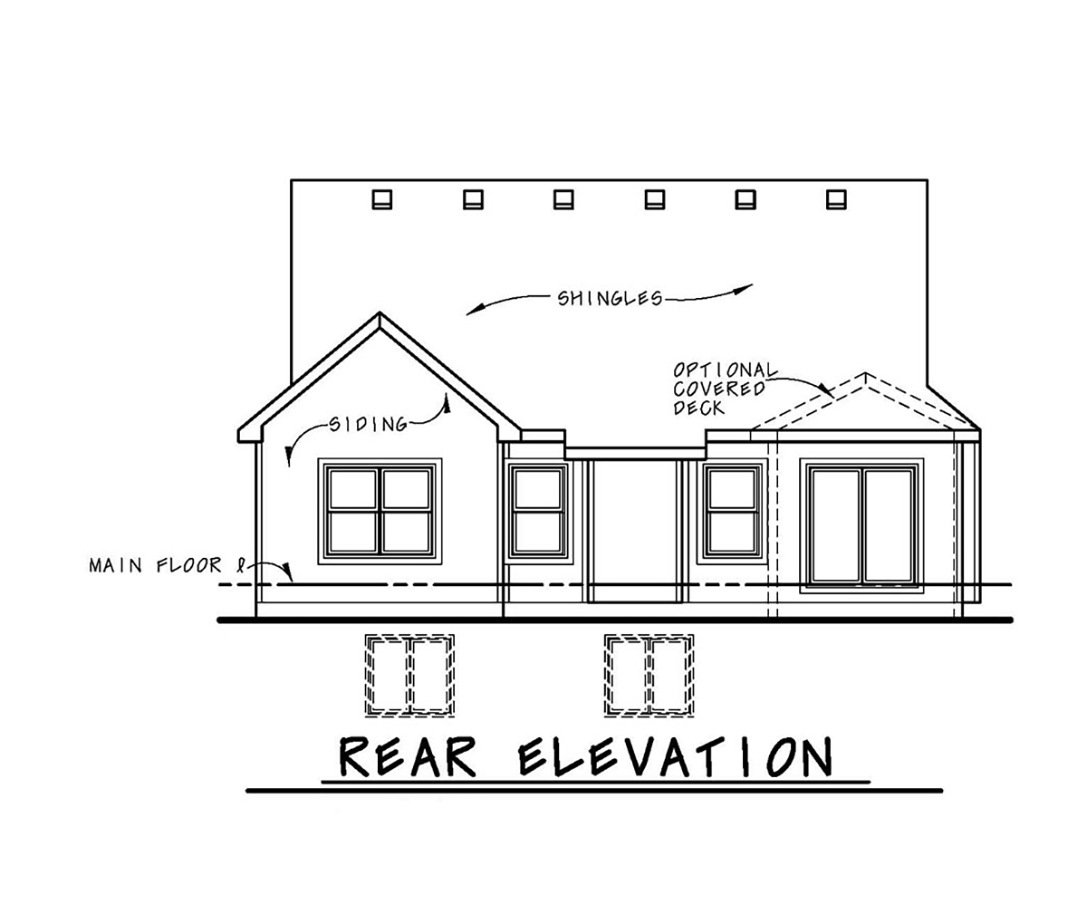 Cottage, Country, Craftsman House Plan 80404 with 3 Beds, 3 Baths, 2 Car Garage Rear Elevation