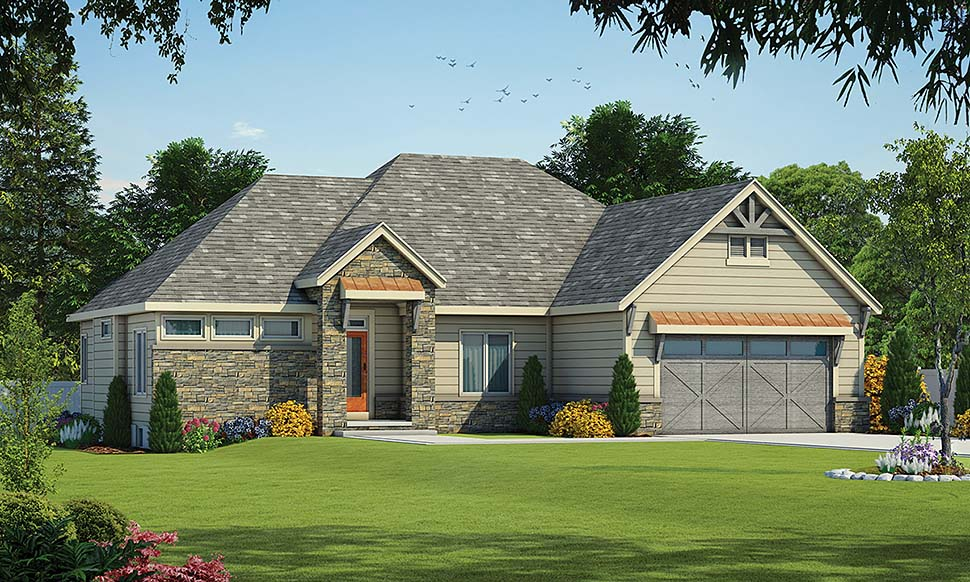 Contemporary, European House Plan 80424 with 3 Beds, 3 Baths, 2 Car Garage Elevation