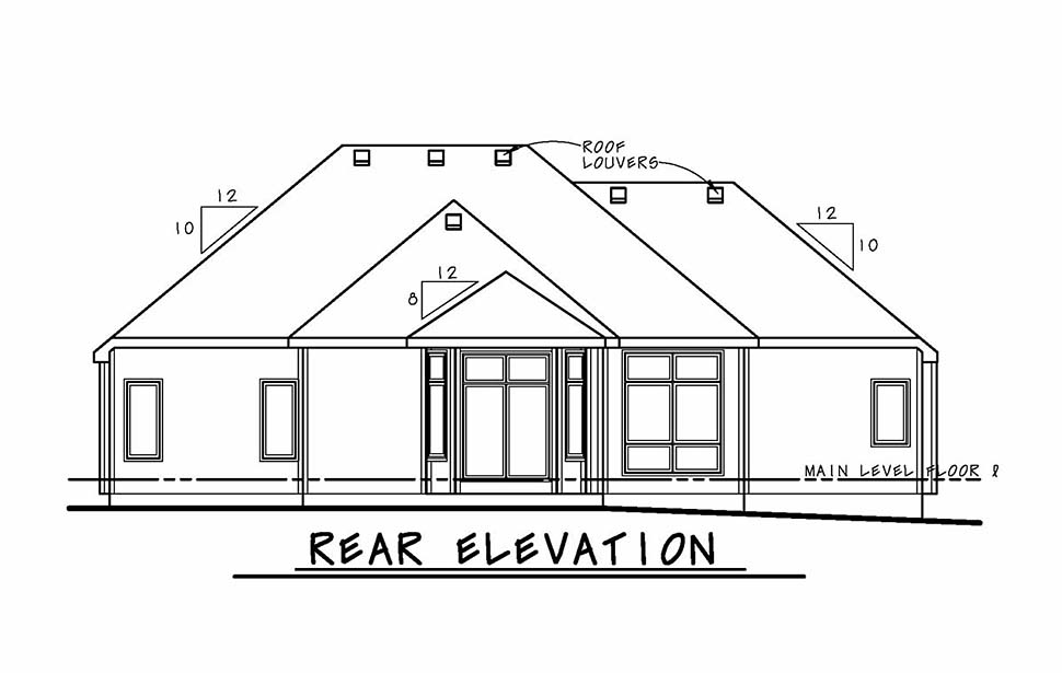 Contemporary, European House Plan 80424 with 3 Beds, 3 Baths, 2 Car Garage Rear Elevation