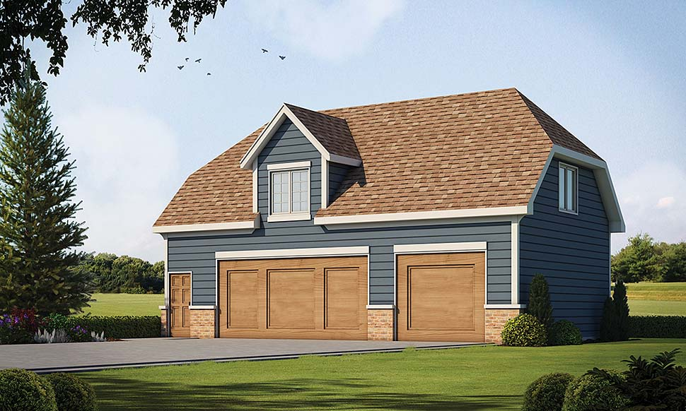 Traditional 2 Car Garage Apartment Plan 80426 with 1 Beds, 1 Baths Front Elevation