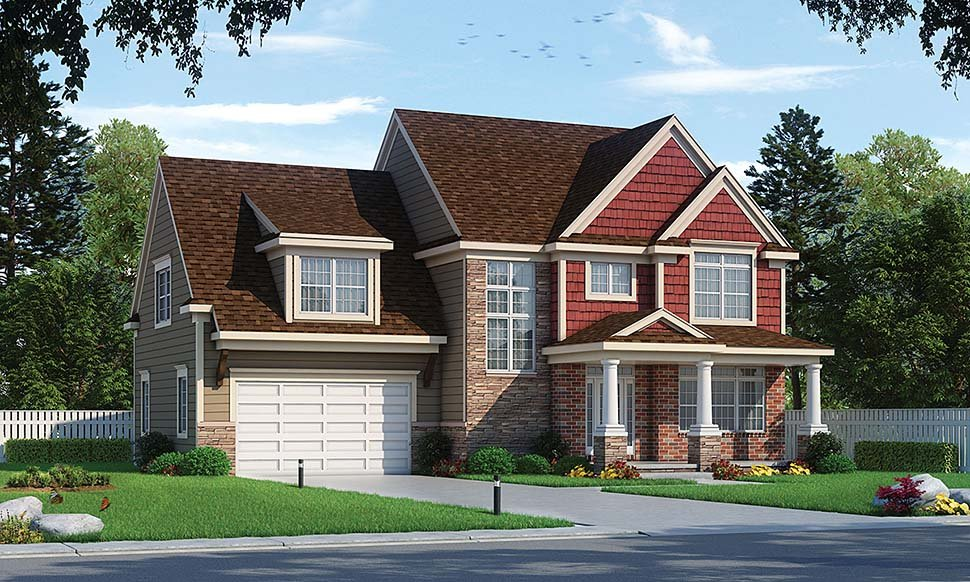 Farmhouse, Traditional House Plan 80433 with 4 Beds, 3 Baths, 2 Car Garage Front Elevation