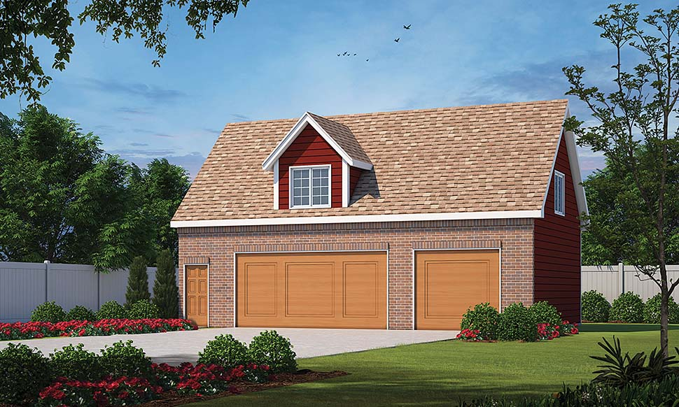 Traditional 3 Car Garage Apartment Plan 80438 with 1 Beds, 1 Baths Front Elevation