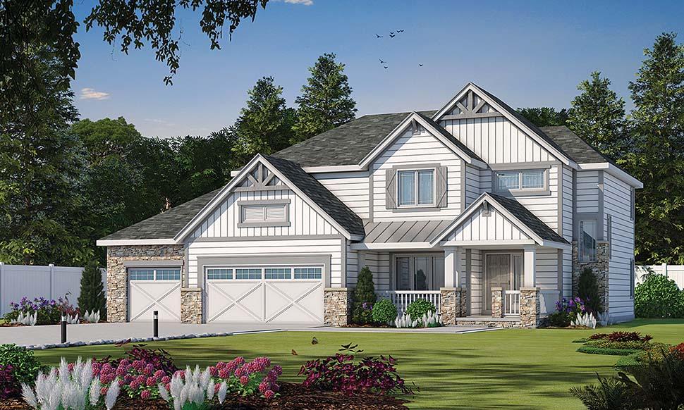 Craftsman House Plan 80441 with 4 Beds, 4 Baths, 3 Car Garage Front Elevation