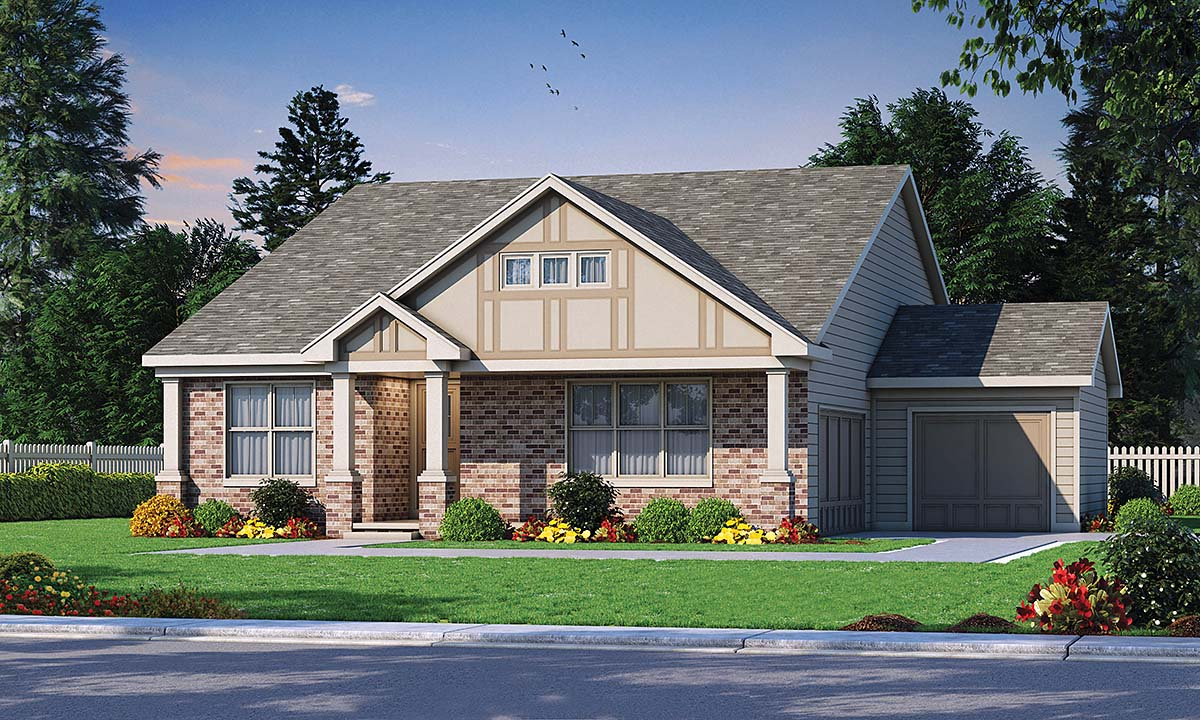 Craftsman, Traditional, Tudor House Plan 80442 with 3 Beds, 2 Baths, 2 Car Garage Elevation