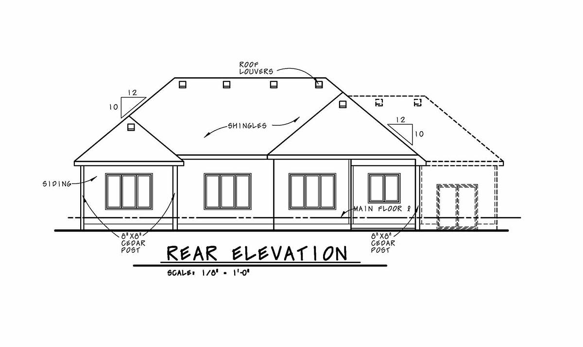 Cottage, Country, Ranch House Plan 80450 with 2 Beds, 2 Baths, 2 Car Garage Rear Elevation
