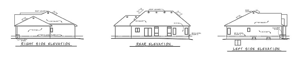 Craftsman House Plan 80486 with 3 Beds, 3 Baths, 3 Car Garage Rear Elevation