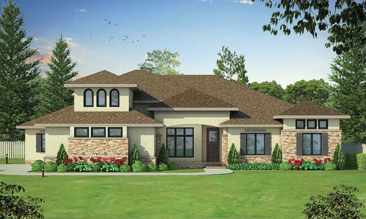 European, French Country House Plan 80492 with 4 Beds, 4 Baths, 3 Car Garage Elevation