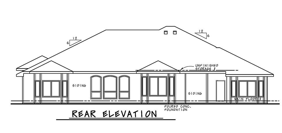 European, French Country House Plan 80492 with 4 Beds, 4 Baths, 3 Car Garage Rear Elevation