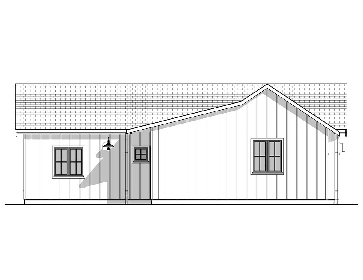 Farmhouse House Plan 80502 with 2 Beds, 1 Baths Rear Elevation