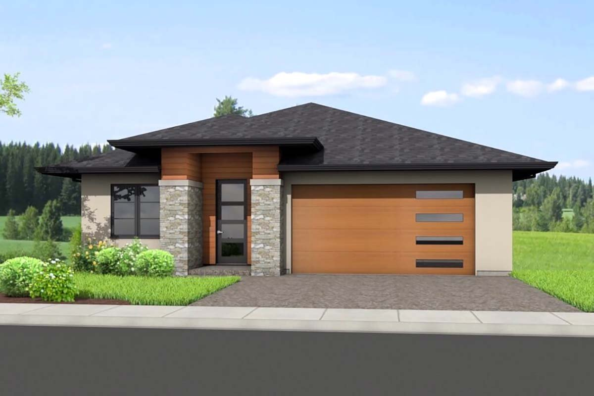 Ranch House Plan 80505 with 4 Beds, 3 Baths, 2 Car Garage Front Elevation