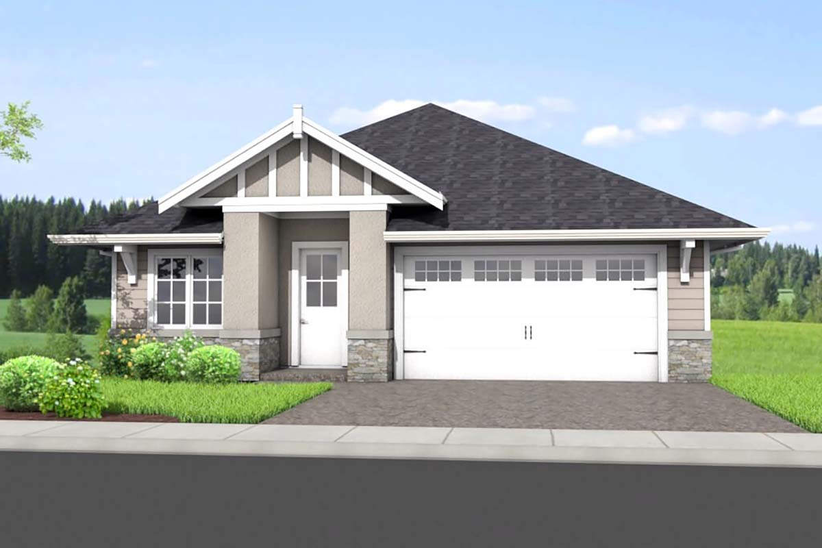 Traditional House Plan 80506 with 4 Beds, 3 Baths, 2 Car Garage Front Elevation
