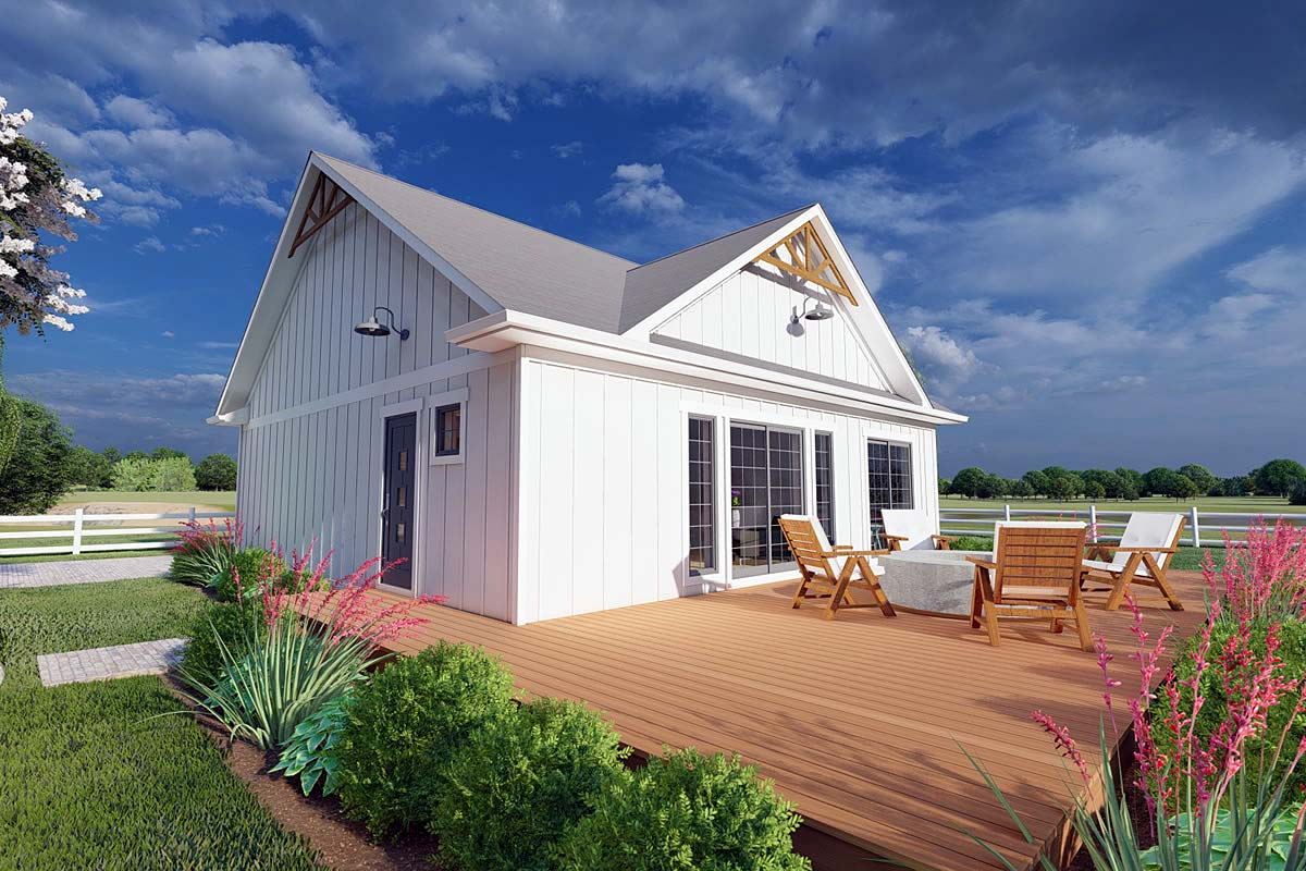 Bungalow, Cabin, Cape Cod, Contemporary, Cottage, Farmhouse, Ranch House Plan 80508 with 1 Beds, 2 Baths Front Elevation