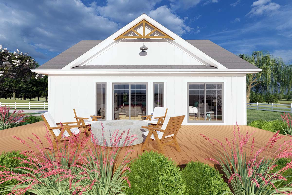Bungalow, Cabin, Cape Cod, Contemporary, Cottage, Farmhouse, Ranch House Plan 80508 with 1 Beds, 2 Baths Picture 1