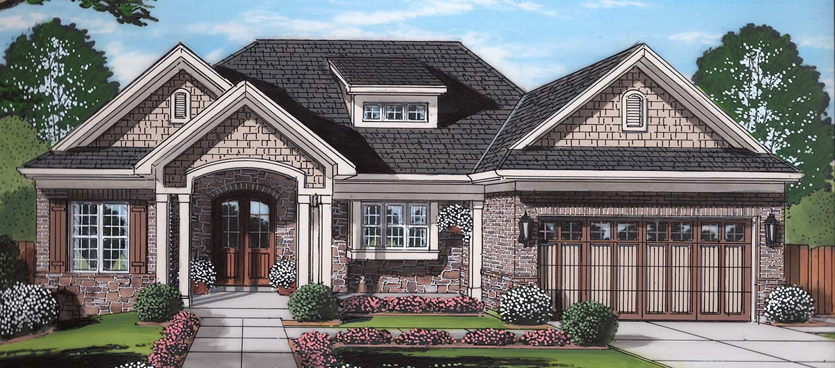 Craftsman, Ranch, Traditional House Plan 80602 with 3 Beds, 2 Baths, 2 Car Garage Elevation