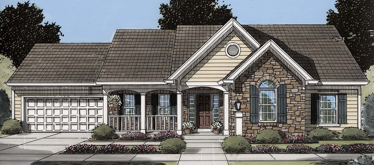 Cottage, Country, Ranch, Traditional House Plan 80606 with 3 Beds, 2 Baths, 2 Car Garage Elevation