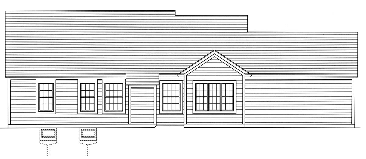 Cottage, Country, Ranch, Traditional House Plan 80606 with 3 Beds, 2 Baths, 2 Car Garage Rear Elevation