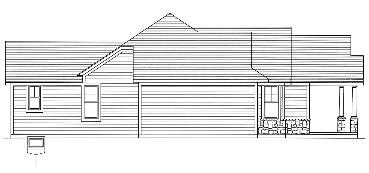 Bungalow, Cottage, Craftsman, Ranch House Plan 80607 with 3 Beds, 2 Baths, 2 Car Garage Picture 2