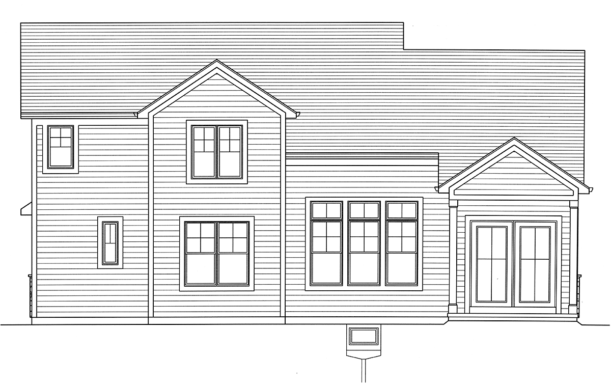 Country, Craftsman, European, Farmhouse House Plan 80608 with 4 Beds, 3 Baths, 2 Car Garage Rear Elevation