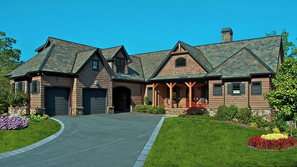 Cottage, Craftsman Plan with 3005 Sq. Ft., 5 Bedrooms, 6 Bathrooms, 1 Car Garage Elevation