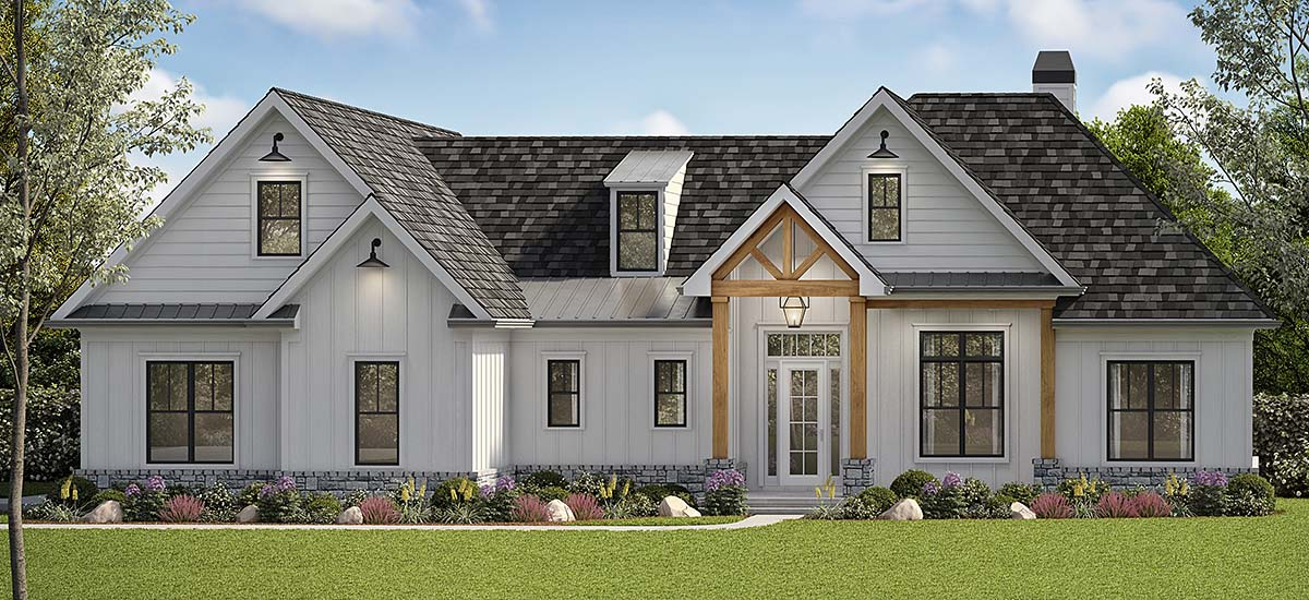 Country, Farmhouse, Southern House Plan 80716 with 6 Beds, 4 Baths, 2 Car Garage Elevation