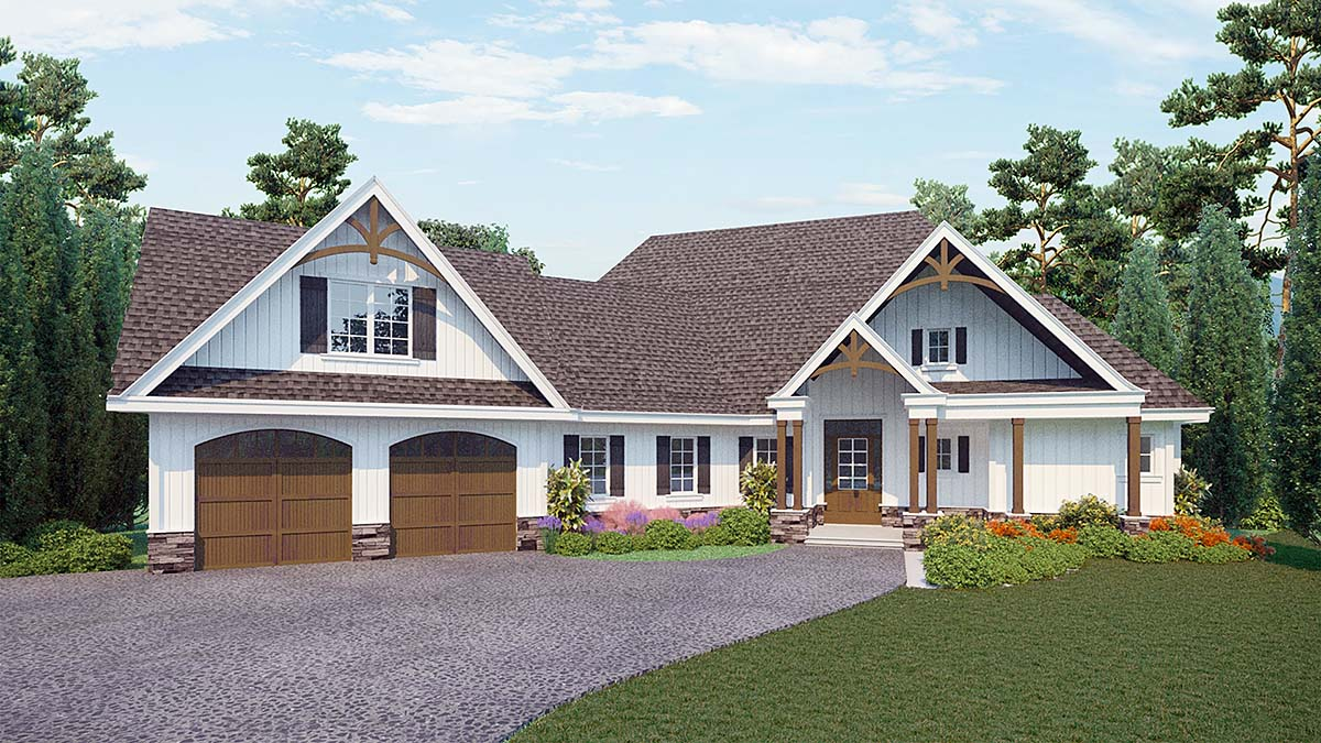 Country, Craftsman House Plan 80717 with 3 Beds, 3 Baths, 2 Car Garage Elevation
