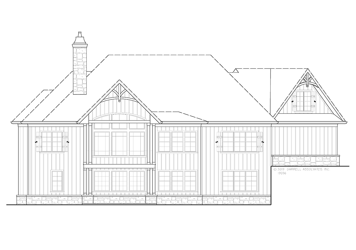 Country, Craftsman House Plan 80717 with 3 Beds, 3 Baths, 2 Car Garage Rear Elevation