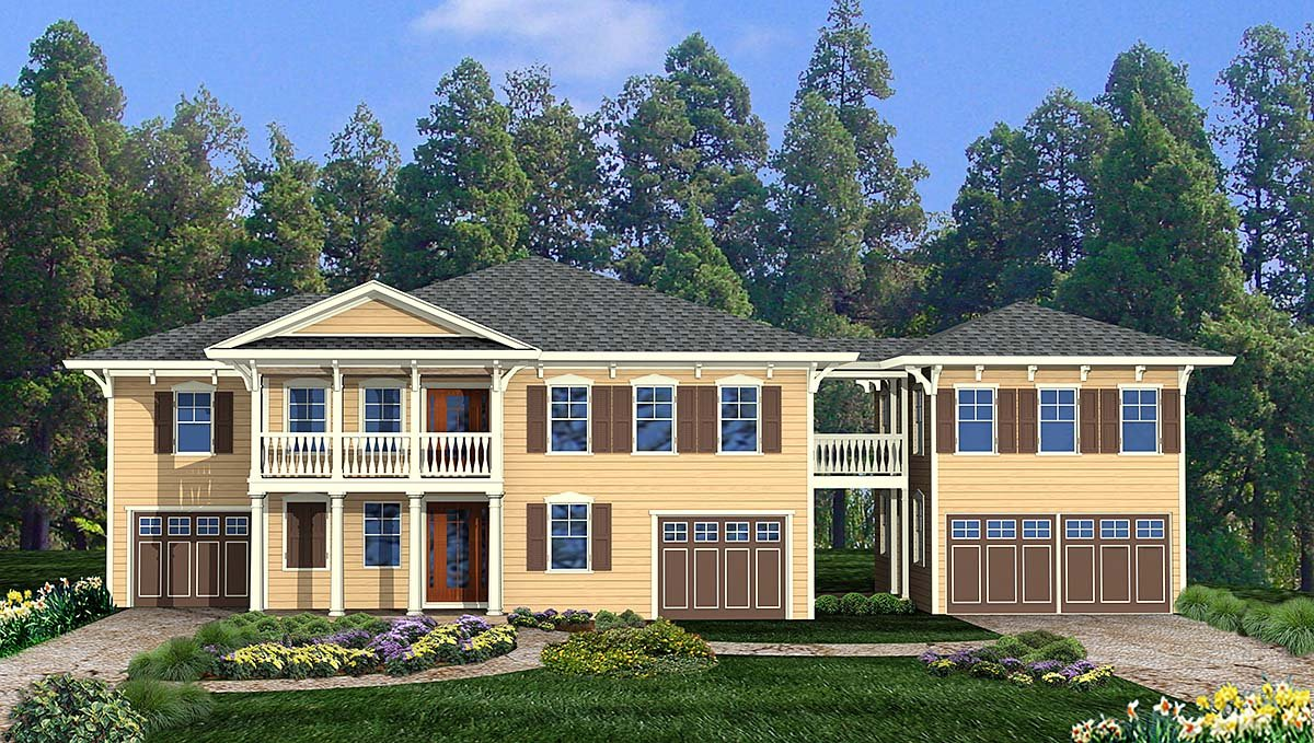 Coastal, Cottage House Plan 80719 with 4 Beds, 3 Baths, 3 Car Garage Elevation