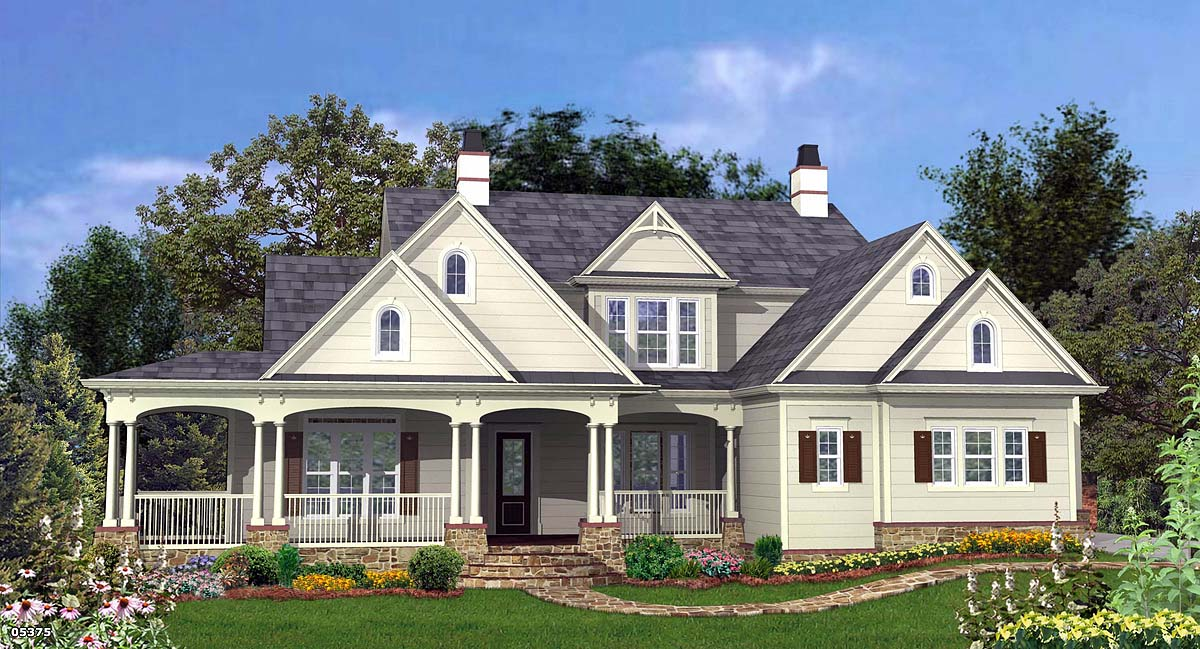 Country, Farmhouse, Southern, Traditional House Plan 80720 with 4 Beds, 4 Baths, 3 Car Garage Elevation