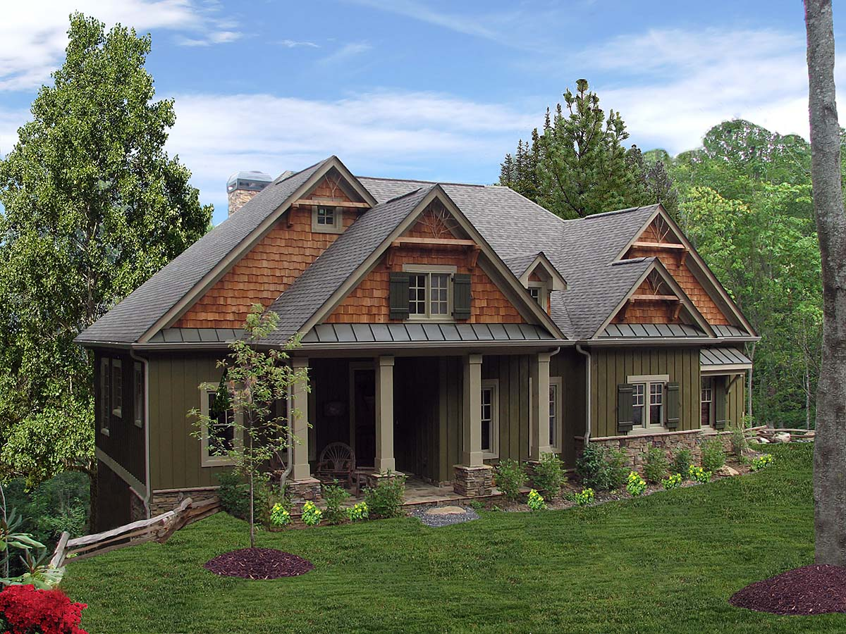 Bungalow, Craftsman House Plan 80722 with 3 Beds, 3 Baths, 2 Car Garage Front Elevation
