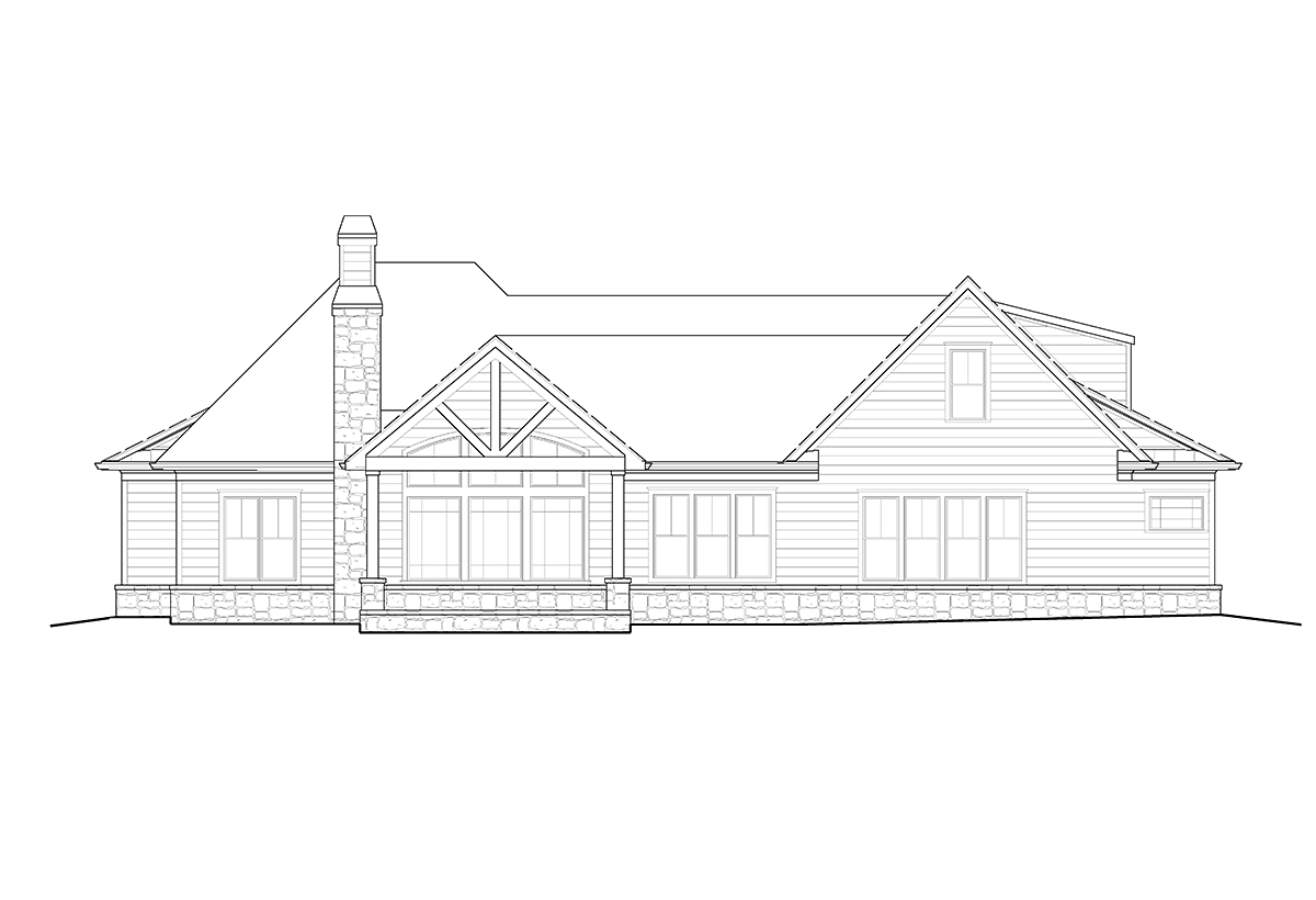 Farmhouse, Ranch, Southern House Plan 80723 with 3 Beds, 3 Baths, 2 Car Garage Rear Elevation