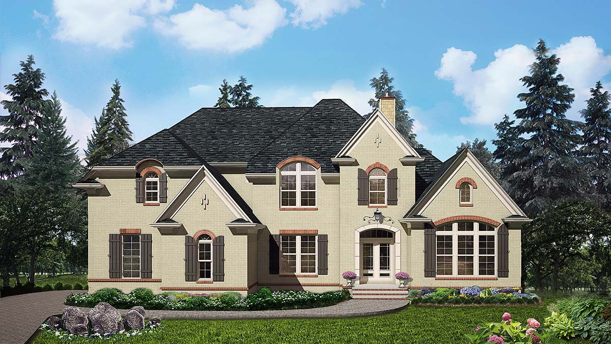 Traditional House Plan 80725 with 4 Beds, 4 Baths, 2 Car Garage Elevation