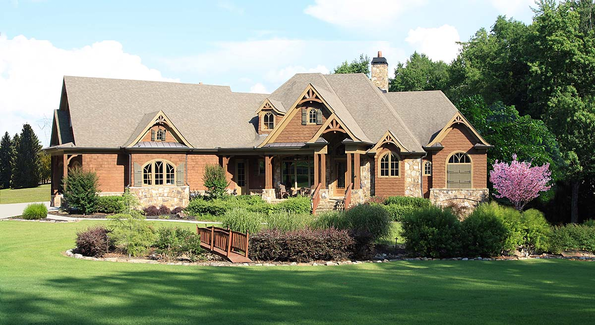 Craftsman, Ranch House Plan 80732 with 4 Beds, 4 Baths, 2 Car Garage Elevation
