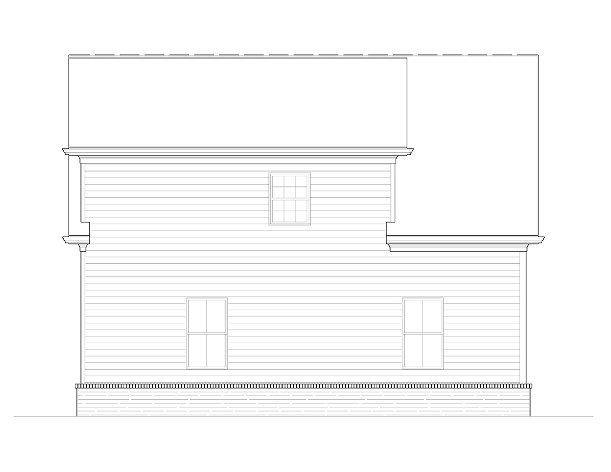 Craftsman, Farmhouse, French Country 2 Car Garage Plan 80738 Rear Elevation