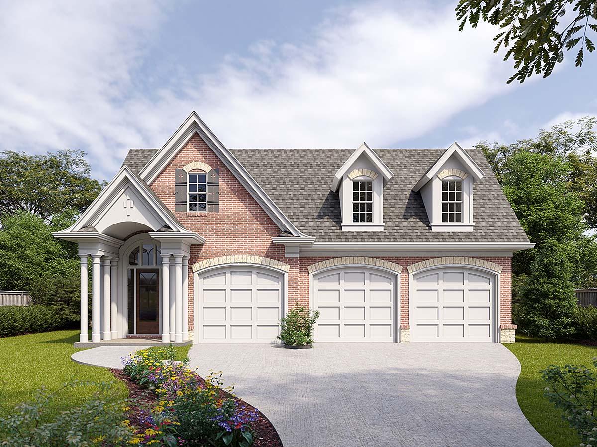 Cottage, Craftsman 3 Car Garage Apartment Plan 80739 with 1 Beds, 2 Baths Elevation