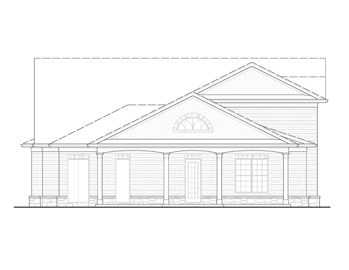European 3 Car Garage Apartment Plan 80739 with 1 Beds, 2 Baths Rear Elevation
