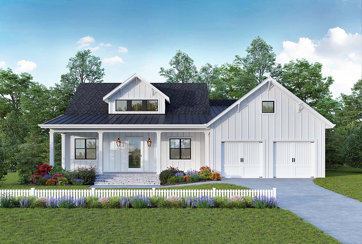 Farmhouse, Ranch House Plan 80740 with 3 Beds, 2 Baths, 2 Car Garage Front Elevation