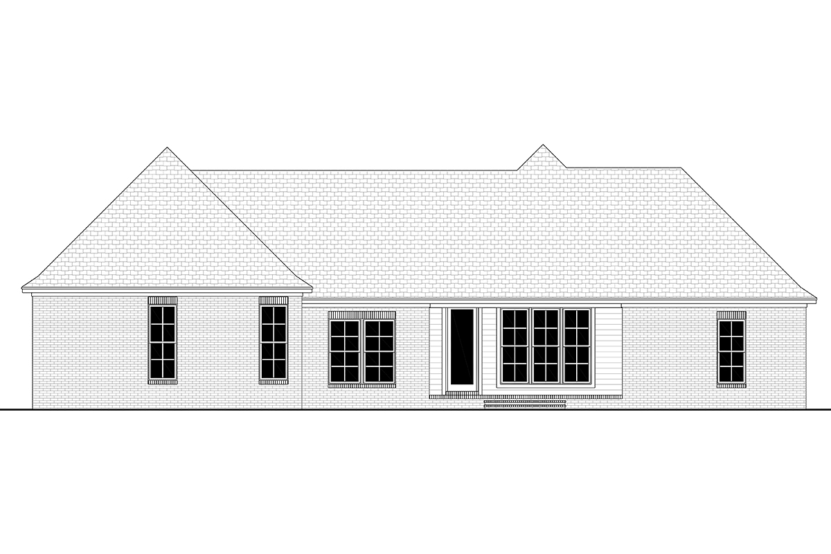 Country, Farmhouse, Traditional House Plan 80800 with 4 Beds, 2 Baths, 2 Car Garage Rear Elevation