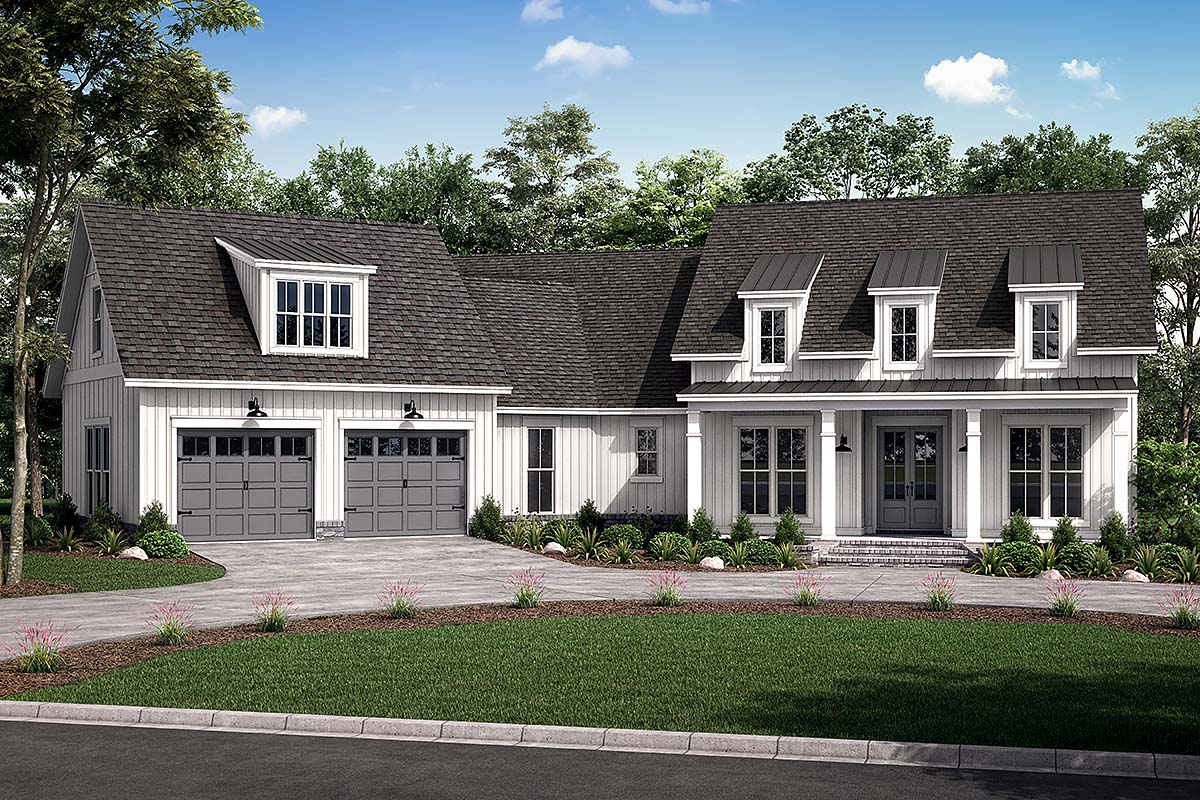 Country, Farmhouse, Traditional House Plan 80803 with 3 Beds, 3 Baths, 2 Car Garage Front Elevation