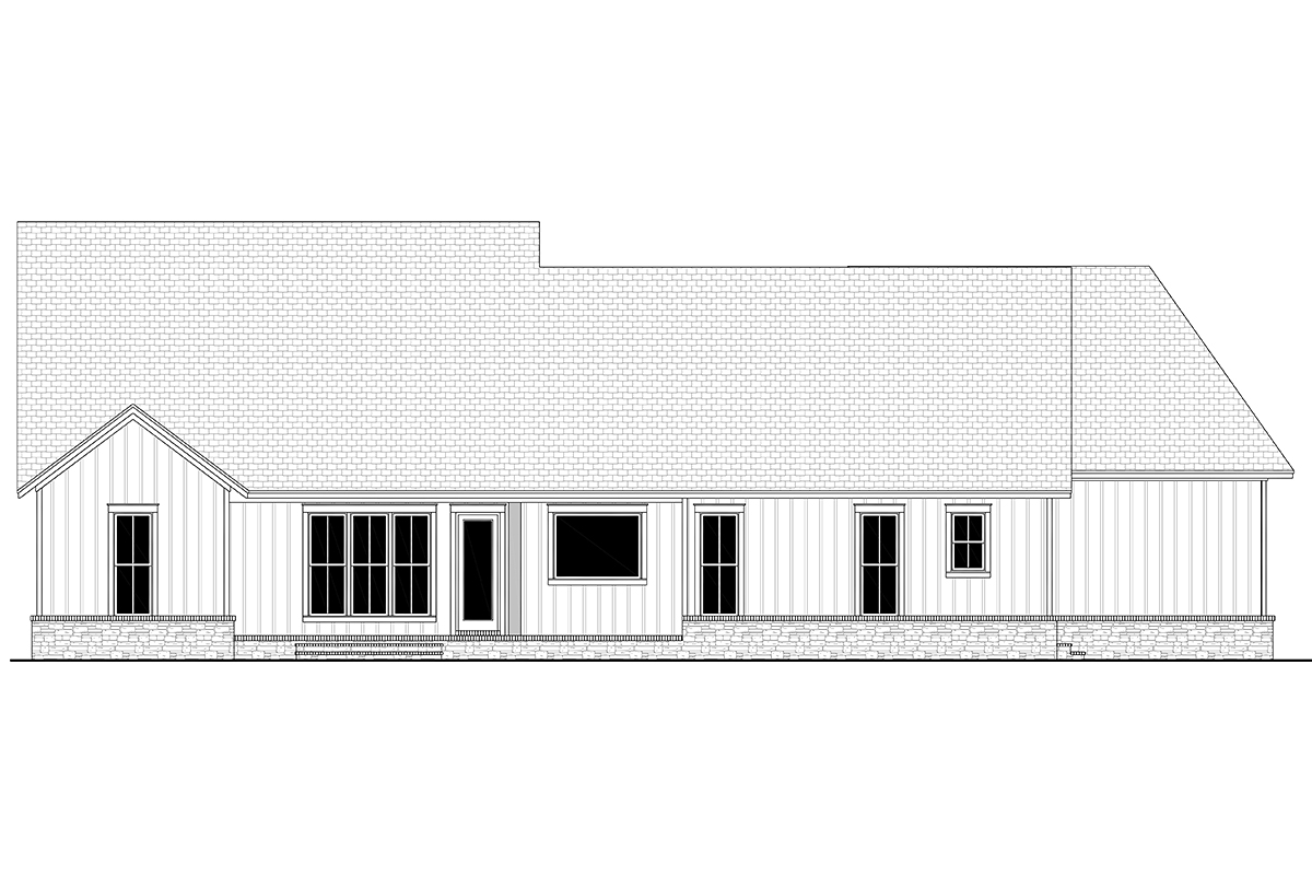 Country, Farmhouse, Traditional House Plan 80803 with 3 Beds, 3 Baths, 2 Car Garage Rear Elevation