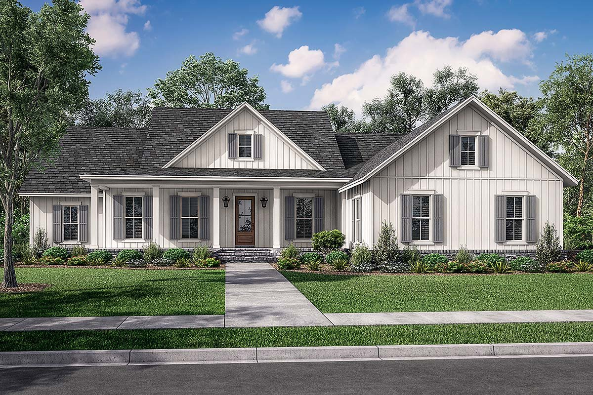 House Plan 80804 - Traditional Style with 2607 Sq Ft, 4 Bed, 2 Bath, 1 Half  Bath